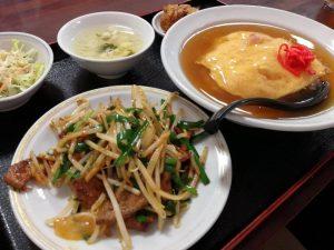 ニラレバと天津飯の台湾料理裕福、橋本市でらんちならここ、ガテン系